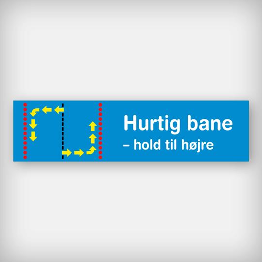 Skilt Hurtigbane Blå 58X15cm