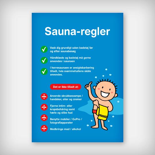 Skilt Sauna Dreng Blå A3