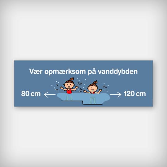 Skilt Vanddybde 60X20